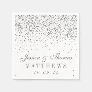 Colección de plata atractiva del boda del confeti servilletas desechables