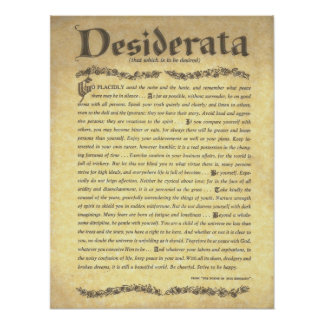 Colección de Poem=Max Ehrmann=Parchment de los DES Póster