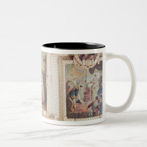 Colección de seis miniaturas taza de dos tonos