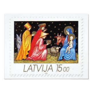 """Colección de sello del navidad de Letonia - 2 Invitación 4.25"""" X 5.5"""""""