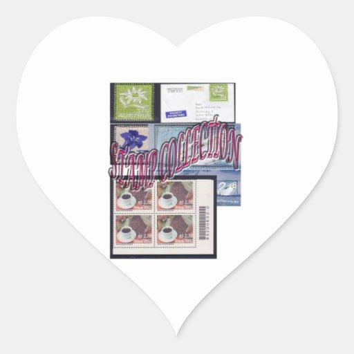 Colección de sello étnica y elegante calcomanía corazón personalizadas