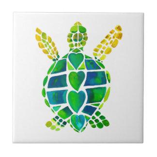 Colección del amor de la tortuga de mar azulejo cuadrado pequeño
