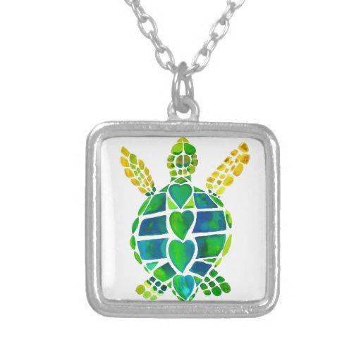 Colección del amor de la tortuga de mar colgante cuadrado
