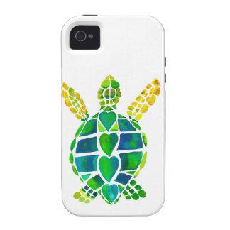Colección del amor de la tortuga de mar iPhone 4 funda