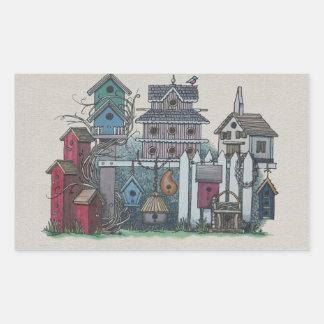 Colección del Birdhouse Pegatina Rectangular