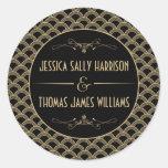 Colección del boda de Gatsby del art déco de los Pegatina Redonda