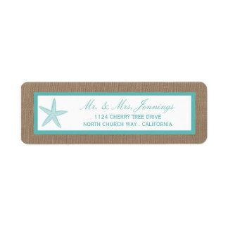 Colección del boda de playa de la arpillera de las etiquetas de remite