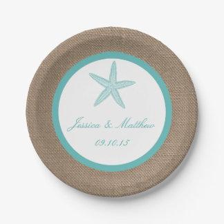 Colección del boda de playa de la arpillera de las plato de papel de 7 pulgadas