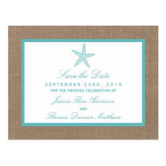 Colección del boda de playa de la arpillera de las postal