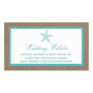 Colección del boda de playa de la arpillera de las tarjetas de visita