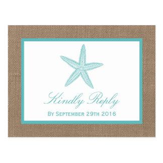Colección del boda de playa de la arpillera de las tarjetas postales