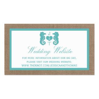 Colección del boda de playa de la arpillera del tarjetas de visita