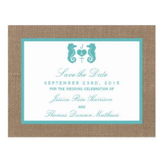 Colección del boda de playa de la arpillera del tarjetas postales