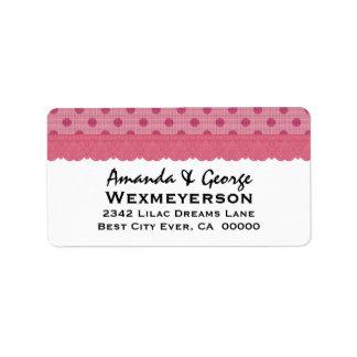 Colección del boda del lunar del rosa color de ros etiqueta de dirección