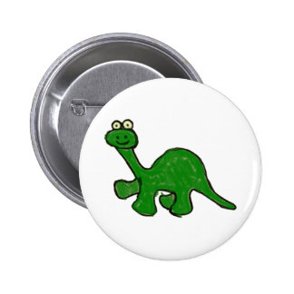 Colección del Brontosaurus del creyón del dibujo a Pin Redondo De 2 Pulgadas