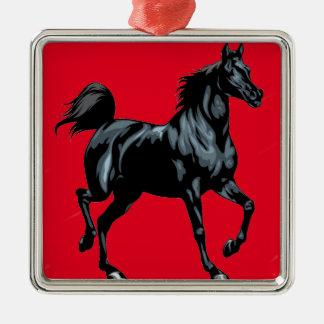 Colección del caballo adorno navideño cuadrado de metal