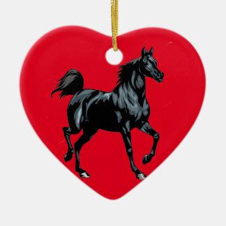 Colección del caballo adorno navideño de cerámica en forma de corazón
