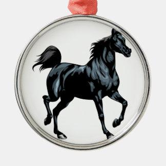 Colección del caballo adorno navideño redondo de metal