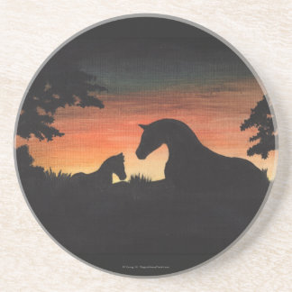 Colección del caballo del nacimiento de la puesta posavasos personalizados