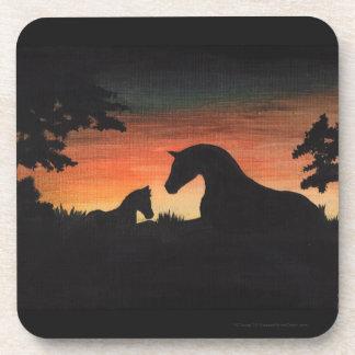 Colección del caballo del nacimiento de la puesta posavasos