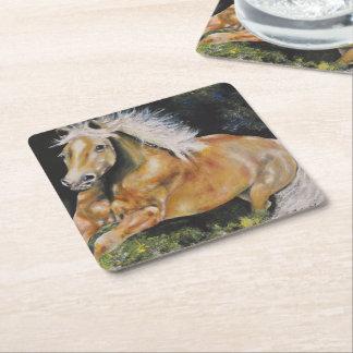 Colección del caballo - práctico de costa salvaje posavasos de cartón cuadrado