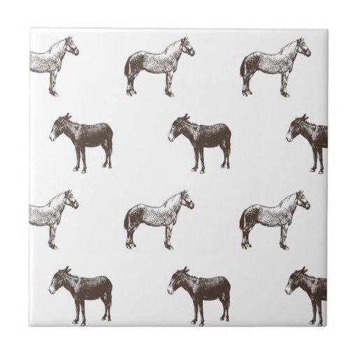 Colección del caballo y del burro de Emma Janeway Azulejos Cerámicos