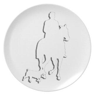 Colección del caballo y del jinete plato para fiesta