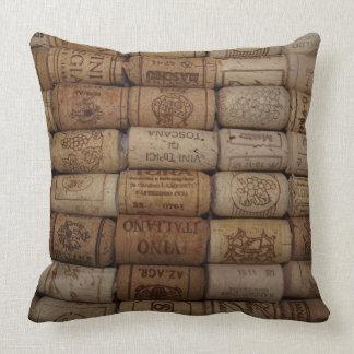 Colección del corcho del vino cojín