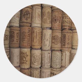 Colección del corcho del vino pegatina redonda