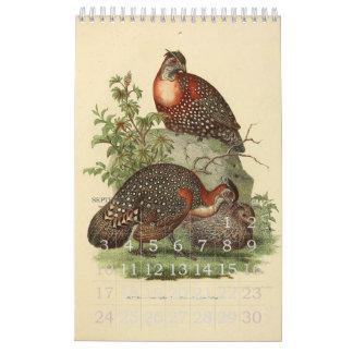 Colección del ejemplo de los pájaros del vintage calendario de pared