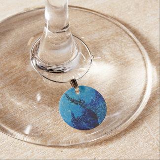 Colección del encanto del vino - extracto azul identificadores de copas