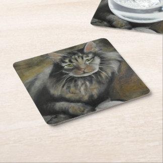 Colección del gato - práctico de costa de pelo posavasos desechable cuadrado