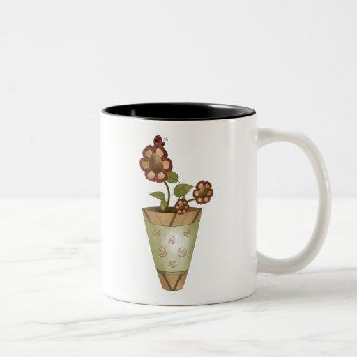 Colección del jardín · Flores Potted con la mariqu Taza Dos Tonos