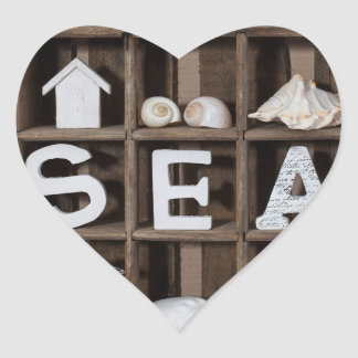 Colección del mar pegatina en forma de corazón