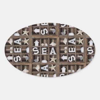 Colección del mar pegatina ovalada