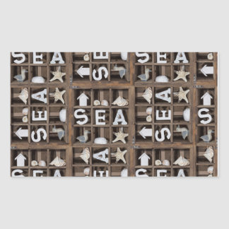 Colección del mar pegatina rectangular