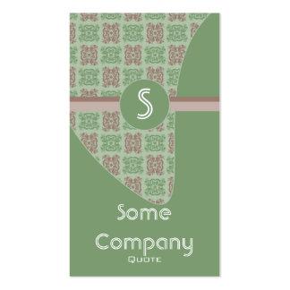 Colección del monograma del damasco (verde) tarjetas de visita