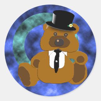 Colección del oso del novio pegatina redonda