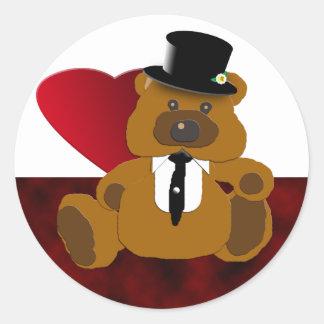 Colección del oso del novio etiqueta redonda