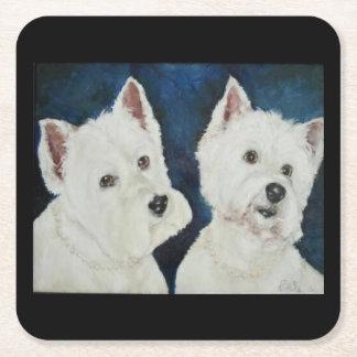 Colección del perro - práctico de costa de Westies Posavasos Personalizable Cuadrado