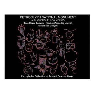 Colección del petroglifo de caras o de máscaras postal