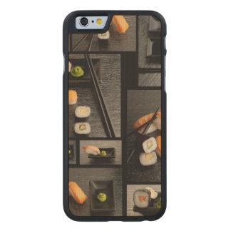 Colección del sushi en fondo negro funda de iPhone 6 carved® slim de arce