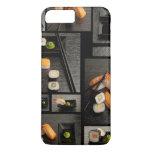 Colección del sushi en fondo negro funda iPhone 7 plus