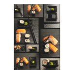Colección del sushi en fondo negro lienzo envuelto para galerias