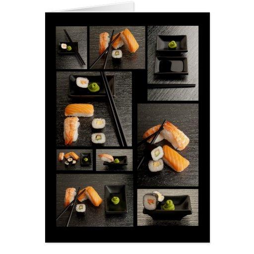 Colección del sushi en fondo negro tarjeta de felicitación