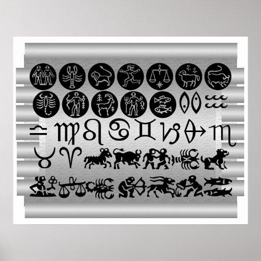 Colección del zodiaco ART101 en las hojas de plata Posters