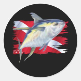 Colección descolorada de los pescados por DiversDe Pegatina Redonda