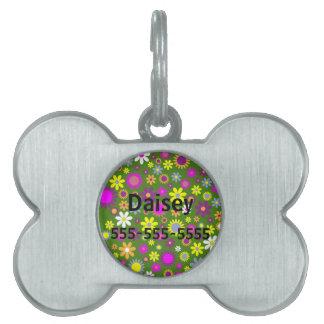 Colección diseñada floral del amor del Hippie Placas Mascota