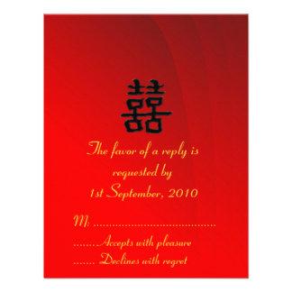 Colección doble china de la felicidad de la tarjet invitacion personalizada