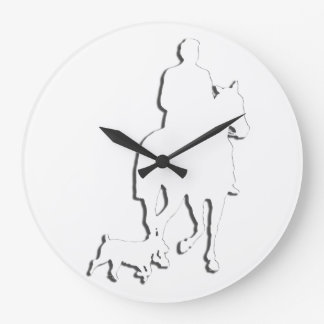 Colección ecuestre del caballo y del jinete reloj redondo grande